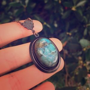 Witchy Geeen Blue Labradorite Moonstone Necklace
